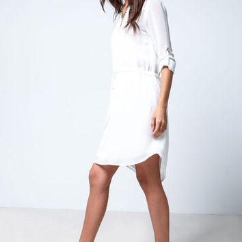 TIED CHIFFON SHIRT DRESS