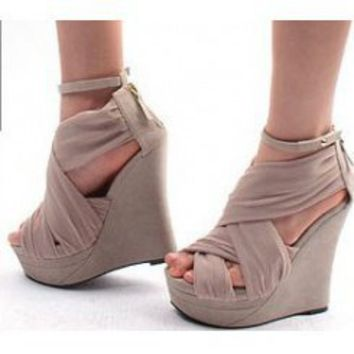 Wholesale GIVENCHY style silk wedge sandals CZ-0763 nude - Lovely Fashion