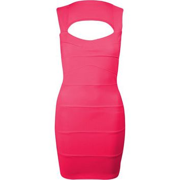 Fashion Wardrobe Womens Rib Bandage Sleeveles Top Ladies Dress
