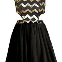 Chevron Shocker Dress | Black Gold Sequin Cutout Party Dresses | Rickety Rack