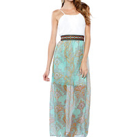 Papaya Clothing Online :: TRIMMING PAISLEY CHIFFON MAXI DRESS