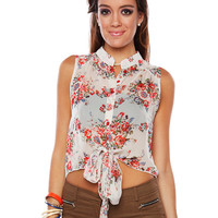 Papaya Clothing Online :: TIE FRONT FLORAL SHEER BLOUSE