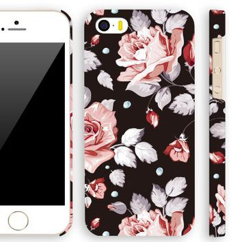Akna Retro Floral Series Vintage Flower Pattern Semi-soft Back Case for iPhone 5 5S [Berlin Black]