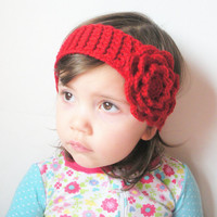 Toddler Girls Crochet  Headband in Red with Large Rose, wool blend, ready to ship.
