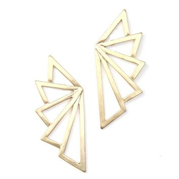 Gold Deco Fan Earrings - Buy From ShopDesignSpark.com