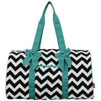 Quilted Chevron Print Large Duffle Bag (AquaBlue)