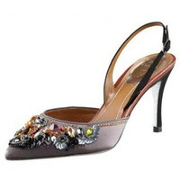 Rene Caovilla Jeweled Slingback Pump