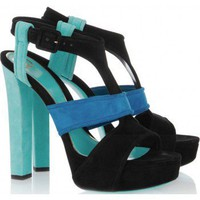 Gucci Tri-color suede platform sandals
