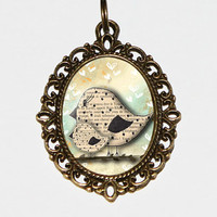 Mother Bird Necklace Oval Pendant