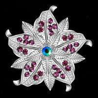 Pugster Silver Purple Rhinestone Wedding Bridal Floral Flower Brooch Jewelry Pin