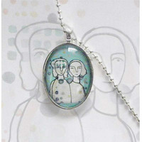 Wearable art Fashion jewelry  pendant sisters  by LouisestArt
