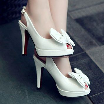Wholesale Japanese and Korea sweet hot sale peep toe bowknot OL waterproof increased sandals Z-RXE-19 white - Lovely Fashion