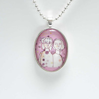 Wearable Art gemini grad gift sisters Pendant pink by LouisestArt