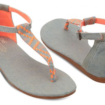 Neon Denim Vegan Women's Playa Sandals