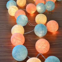 Candy Colour Cotton Balls Hanging Fairy Lights Patio Wedding String Lights (20 Lights/Set)