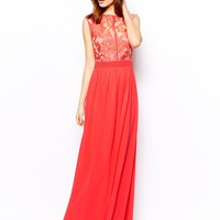 Little Mistress Tall Lace Top Maxi Dress