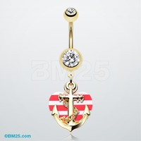 Golden Anchor Nautical Heart Belly Button Ring