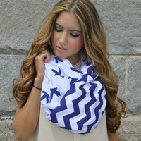 Bird Chevron Scarf, Blue Bird Chevron infinity scarf- soft jersey knit