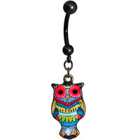 Red Flower Power Artistic Owl Dangle Belly Ring | Body Candy Body Jewelry