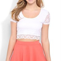 Short Sleeve Lace Crop Top with Sheer Back - Clearance