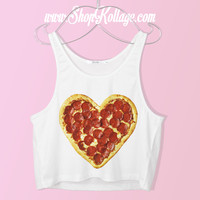 Heart Pizza Crop Tank Top