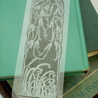 Dark Green Nouveau Nature Texture Handmade Printed Bookmark | CandyAppleCrafts - Printmaking on ArtFire