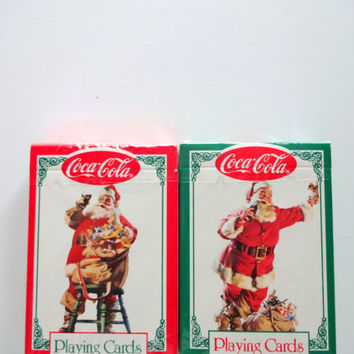 Vintage Dual Deck of Coca-Cola Santa Playing Cards 1994