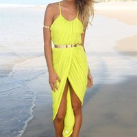 Yellow Sleeveless Draped Maxi Dress