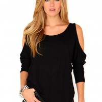 Missguided - Laile Cut Out Shoulder Top In Black