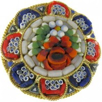 Micro - Mosaic Flower Pin - ITALY | AVintageJourney - Jewelry on ArtFire