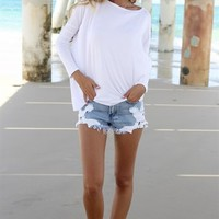 White Long Sleeve Tunic T-Shirt