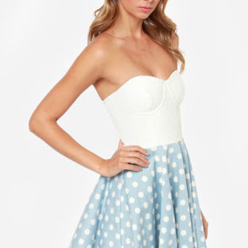 Mink Pink Suger Magnolia Blue and Ivory Polka Dot Dress