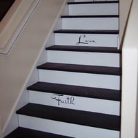 text on stairs