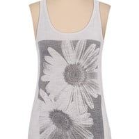 black and white daisy print tank