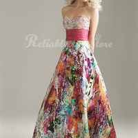Colorful A-line Sweetheart Floor Length Prom Dress-&amp;#36;176.99-ReliableTrustStore.com