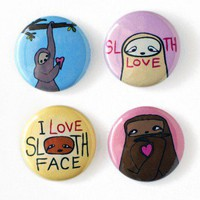 Handmade Gifts | Independent Design | Vintage Goods Sloth Love Pin Set