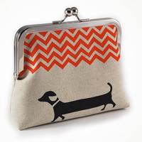 Dachshund purse with orange chevron by sirtom on Etsy