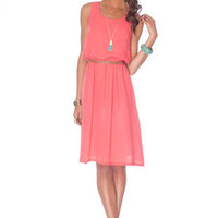 Coastal Breezy Tank Dress in Coral :: tobi