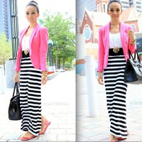 Furor Moda - All Stripes Maxi Skirt