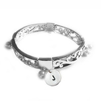 Pearl Initial Bracelet Hand Stamped Swirl Motif by JSCJewelry