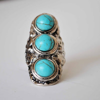 TURQUOISE RING SIZE 55 by JBeseda on Etsy