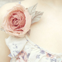 Peachy-pink silk fabric flower hair clip/pin brooch