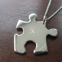 Personalised Silver Jigsaw Puzzle Pendant by GorjessJewellery