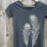 Peacock Feathers Organic Cotton Tshirt Women's Scoop by Uzura