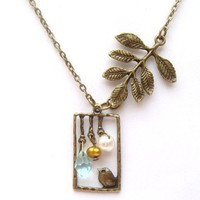 Antiqued Brass Leaf Bird Quartz Pearl Necklace by gemandmetal