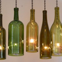 Wine Bottle Hurricane Lantern Hanging | BoMoLuTra - Candles on ArtFire