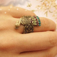 elegant peacock charm ring beautiful feathers made by qizhouhuang