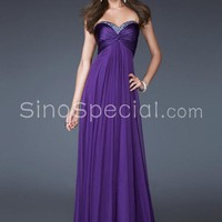 Charming A-line Sweetheart Neckline Floor Length Beadings Chiffon Evening Dress-SinoSpecial.com
