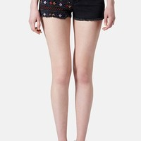 Topshop Moto Embroidered Denim Cutoff Shorts