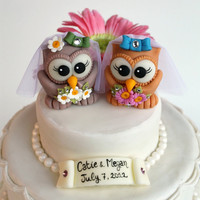 Custom same sex owl wedding cake topper two cute by PerlillaPets